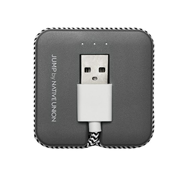 Native Union JUMP Cable - Micro-USB to USB Charging/Sync Cable and Compact Portable Battery Booster - Compatible with Most Android Devices (Slate)