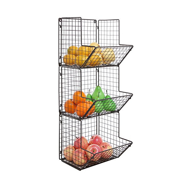 Rustic Brown Metal Wire 3 Tier Wall Mounted Kitchen Fruit Produce Bin Rack / Bathroom Towel Baskets