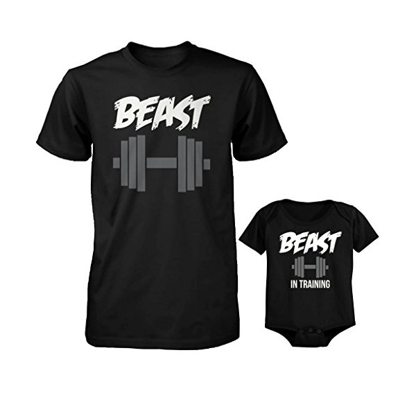 Daddy and Baby Matching T-Shirt and Bodysuit Set - Beast and Beast in Training