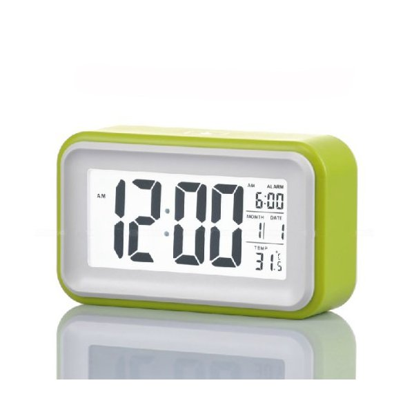 "WAYCOM® Silent Digital 6"" Alarm Clock with Date and Temperature Display, Repeating Snooze, Light-activated Sensor Light and Touch-activated Nightlight- Batteries(Green)"