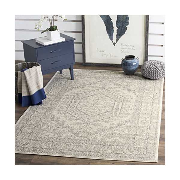 "Safavieh Adirondack Collection ADR108B Ivory and Silver Oriental Vintage Area Rug (5'1"" x 7'6"")"