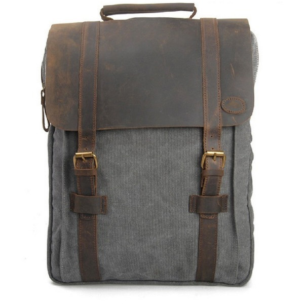 Canvas and Genuine Leather Rucksack