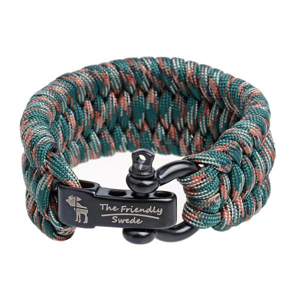 Paracord Survival Bracelet With Stainless Steel Black Bow Shackle