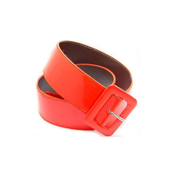 2 Inch Wide Patent Leather Cinch Belt for Women in Red