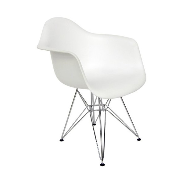 AEON Dijon Arm Chair, ( Set of 2) White Matte Molded ABS Injected Plastic Shell on a Chromed Steel Eiffel