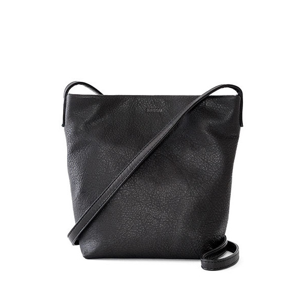 BAGGU Leather Cross Body Purse - Black
