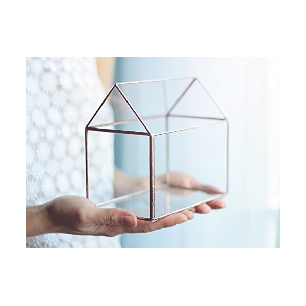 Glass House / Handmade Glass Terrarium / Modern Planter for Indoor Gardening / Jewelry Box / Geometric Glass House / Stained Glass Box