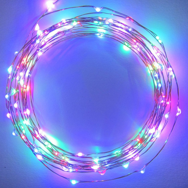 Starry Starry Lights - MultiColor Micro LED's - 20ft LED Light String with 120 LEDs on a Ultra Thin Copper String, Includes Power Adapter