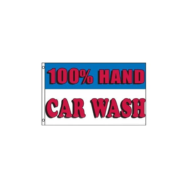 100% Hand Car Wash Banner Flag (3 x 5 Feet)