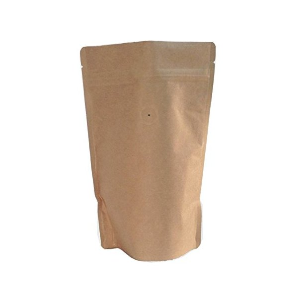 250g/8oz Kraft Paper Stand up Zipper Coffee Bags Pouches with Valve(pack of 10)