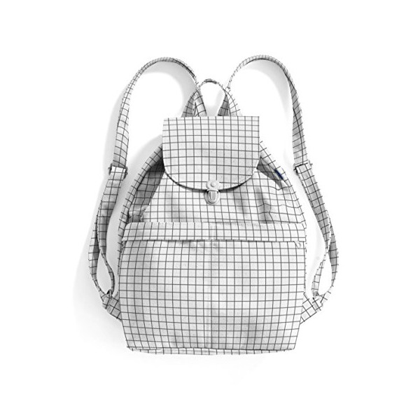 BAGGU Canvas Backpack, Natural Grid