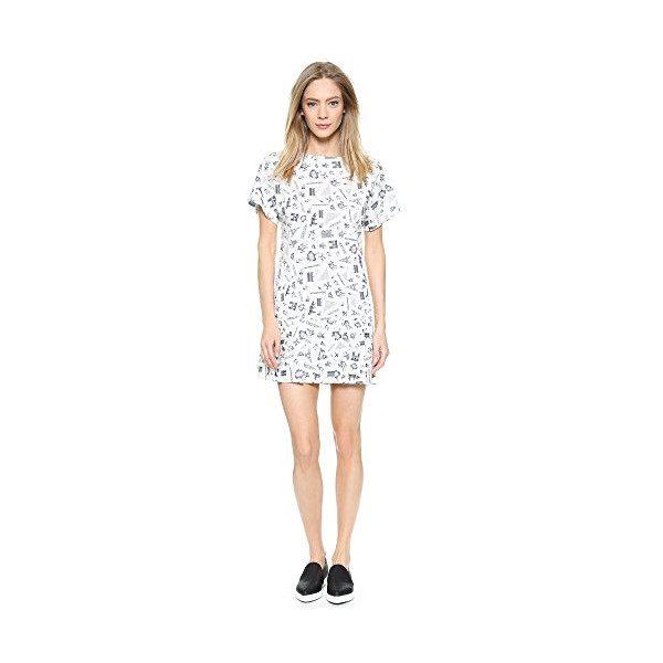 Maison Kitsune Women's Map Pleated Dress, Ecru Print, 36