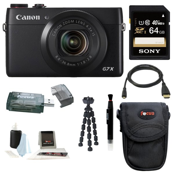 Canon PowerShot G7 X Digital Camera with 64GB SDXC Deluxe Accessory Kit
