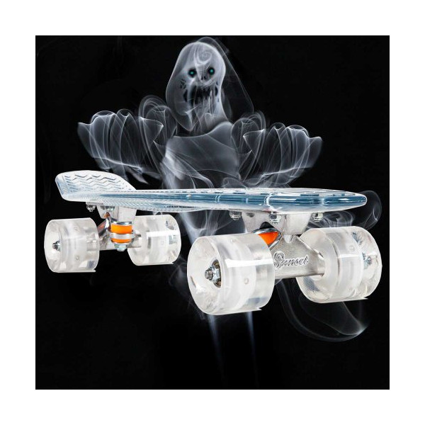 Sunset Skateboards Ghost Complete Skateboard with White Wheels, 22-Inch, Clear