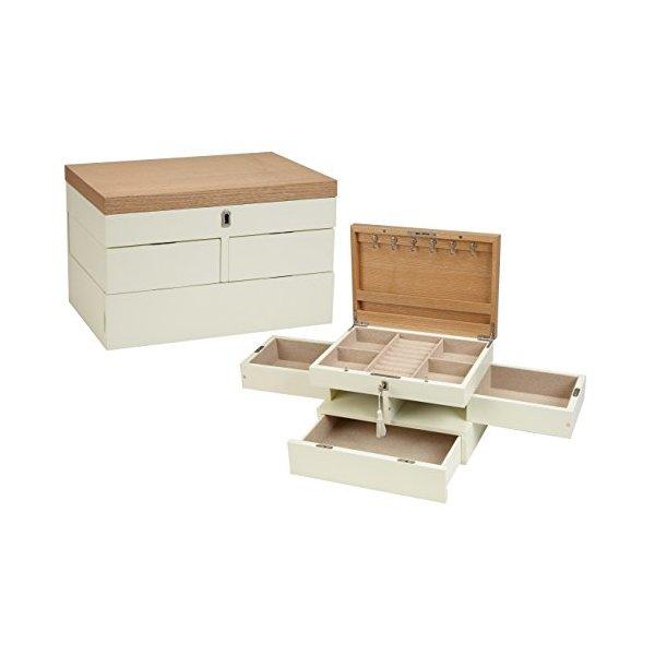 Seya Modern Fully Locking Wooden Jewelry Organizer Box (Cream White)