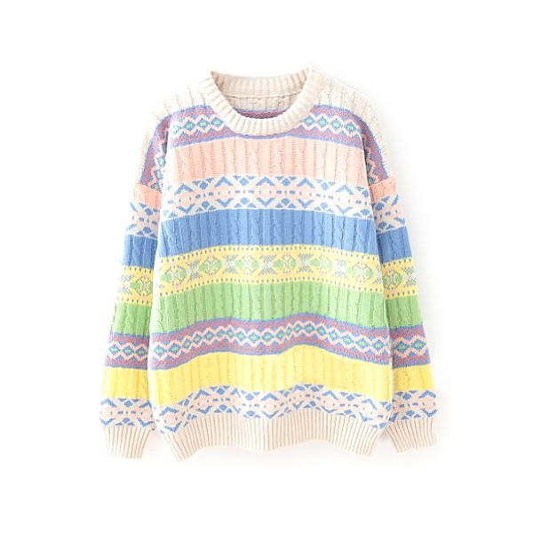 ZLYC Women's Colorblocked Tribal Aztec Geometric Knitted Jumper (beige)