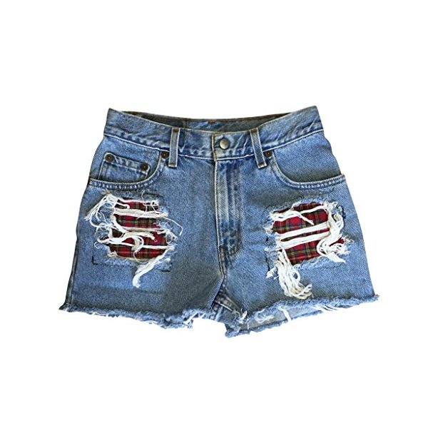 Women's High Waisted Denim Shredded Destroyed Plaid Levi Cuffed Shorts-L