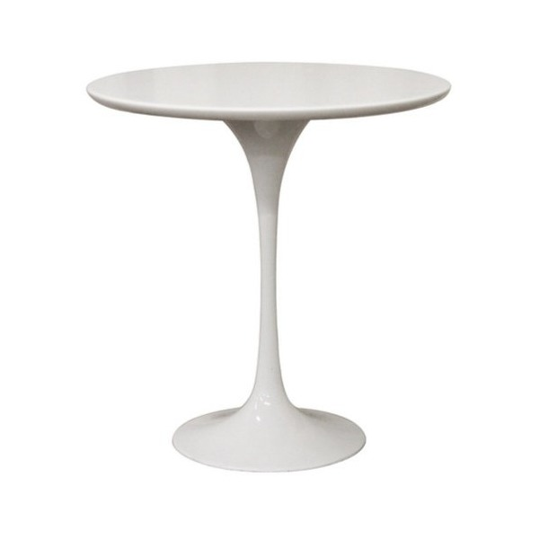 Baxton Studio Immer Mid-Century Style End Table, White Wood and Steel