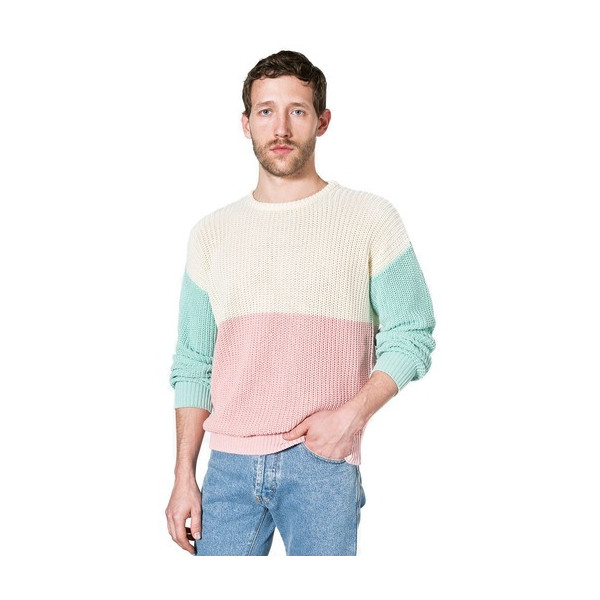 American Apparel Color Block Fisherman's Pullover - Menthe / Creme / Blush