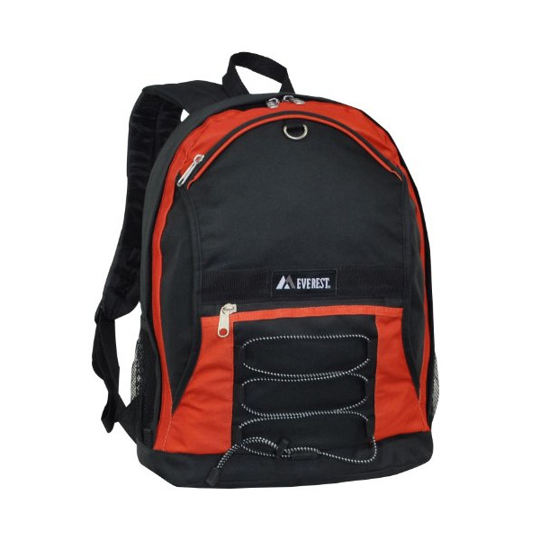 Everest Two-Tone Backpack with Mesh Pockets, Rustic Orange, One Size