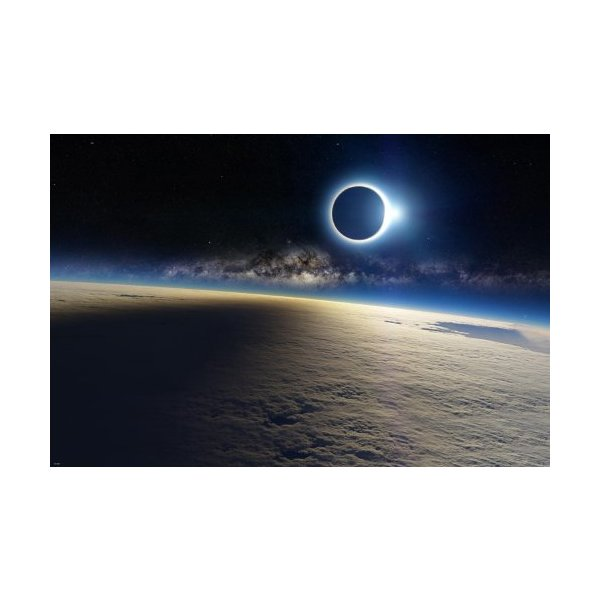 ECLIPSE SHOT ABOVE THE CLOUDS poster 24X36 awesome imagery MILKY WAY rare