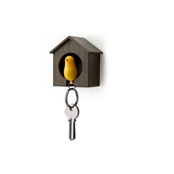 Birdhouse Key Ring - Brown House with Yellow Bird