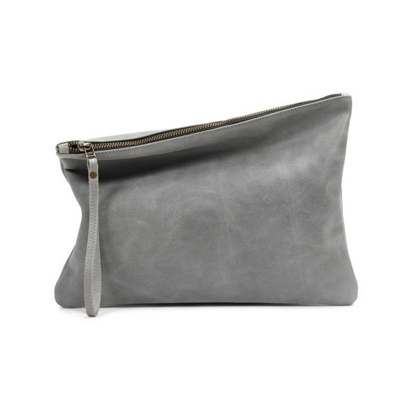 Leah Lerner Leather Clutch, Grey Distressed