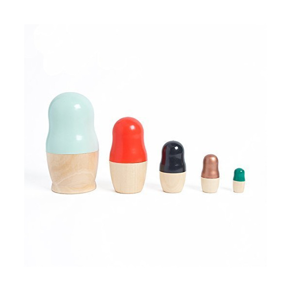 Modern russian nesting dolls with colorblocked design