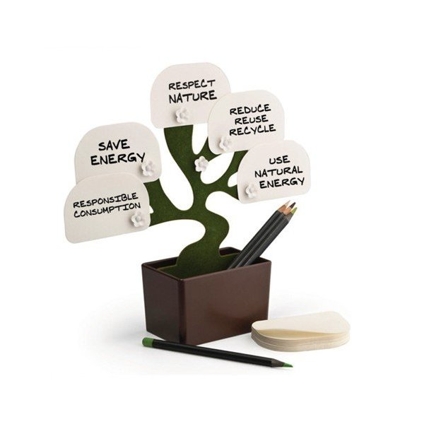 Zuwit Desk Bonsai Memo Note Holder for Desktop Notes Plant Storage box includes 100 Sheets