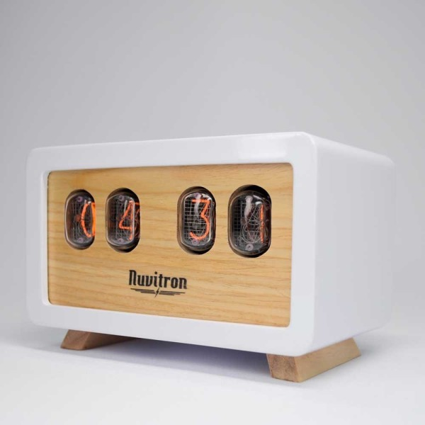 White Retro Nixie Clock - Postmodern Design with Soviet Nixie Tubes Made During the Cold War Era - Wooden Enclosure Handcrafted By Nuvitron