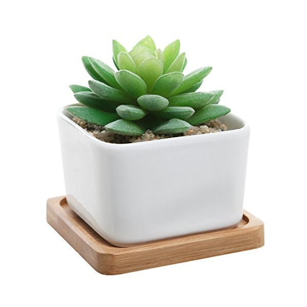 Modern Decorative Small White Square Ceramic Succulent Plant Pot w/ Bamboo Draining Tray - MyGift® Home