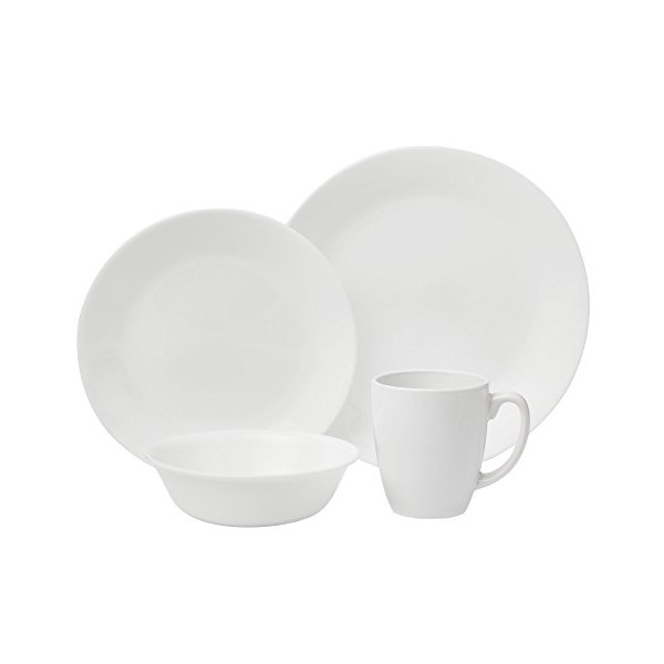 Corelle Livingware 16-Piece Dinnerware Set, Winter Frost White , Service for 4