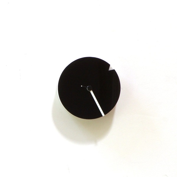 The minimalist - white wood + black acrylic small wall clock with rotating dial