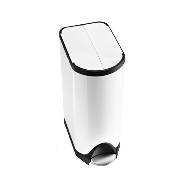 simplehuman Butterfly Step Trash Can, White Steel, 30 L / 8 Gal