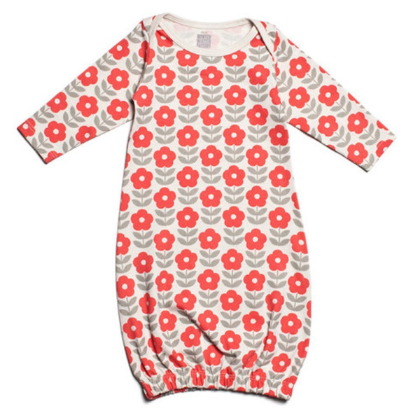 Winter Water Factory Organic Baby Gown (0 Months, Danish Flowers - Coral & Grey)