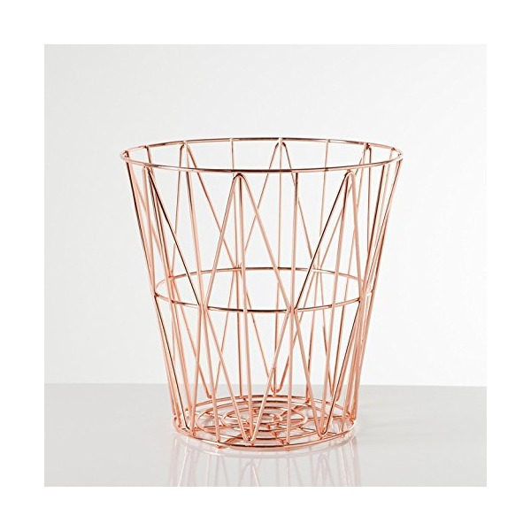Torre & Tagus 902116A Diamond Weave Storage Basket, Rose Gold, Small