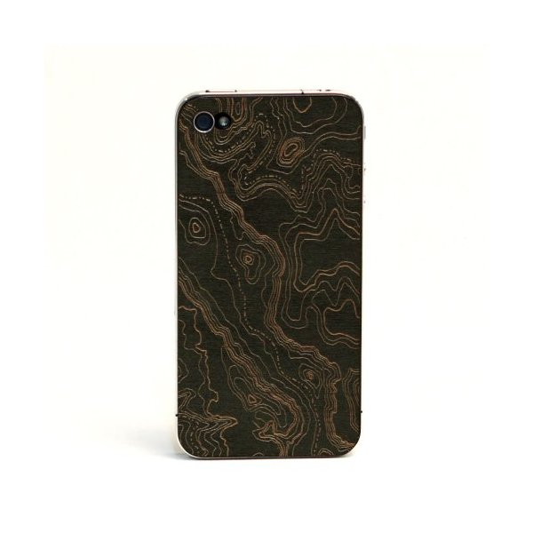 """Topo"" Black Cherry - Real Wood Veneer Cover for iPhone 4 and 4S (ATT/Verizon/Sprint)"