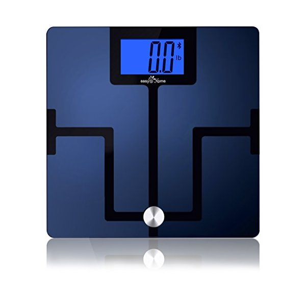 Easy@Home Bluetooth Body Fat Digital Scale (Smart Scale) with FREE App for iPhone, iPad, iPod and Android smart phones and tablets - iOS 8 and HealthKit App integration are supported - Measures 8 Parameters: Body Weight, Body Fat, Body Water, Muscle Mass,