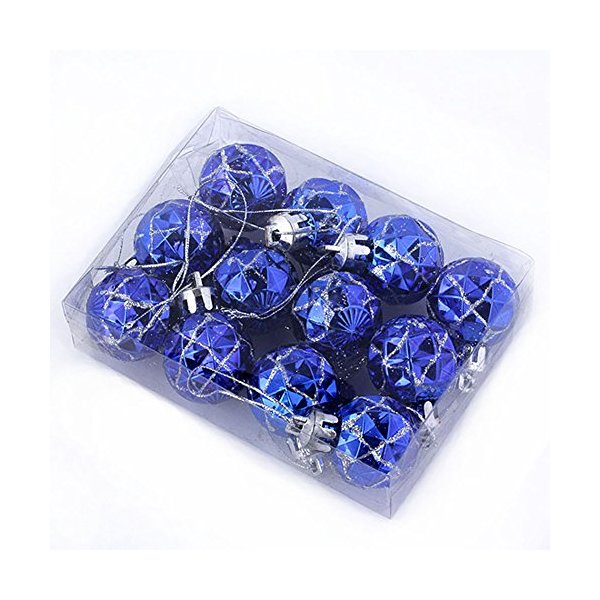 Yerwal 12pcs Mini Glitter Shatterproof Party Christmas Ball Ornament Xmas Tree Hanging Ornament Decoration (Blue)