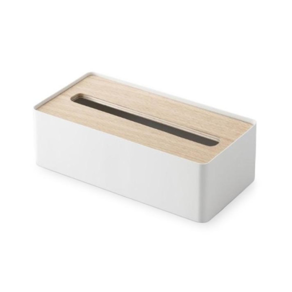 YAMAZAKI home Rin Tissue Case with A Lid, Beige