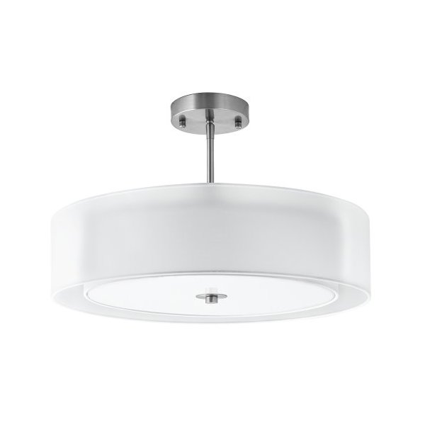 Linea di Liara P117-BN Grazia 20-Inch Three-Light Double Drum Convertible Ceiling Fixture, Brushed Nickel with a White Fabric Shade