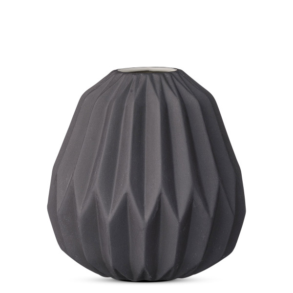 Short Matte black Ceramic Fluted Vase