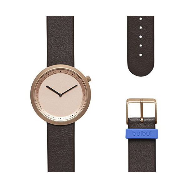 Bulbul Facette 03 Men's Watch - Matte Rose Golden Steel on Brown Italian Leather