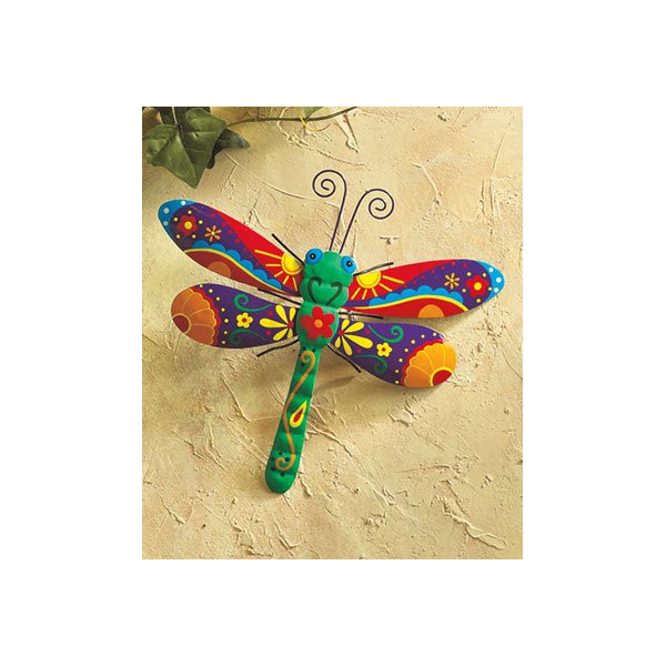 Dragonfly Painted Metal Garden Art