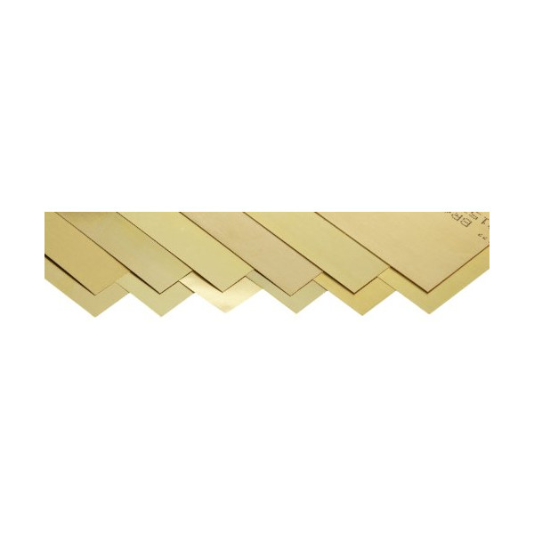 "260 Brass Sheet, Unpolished (Mill) Finish, Half Hard Temper, 0.001-0.015"" Thickness, 6"" Width, 12"" Length (Pack of 12)"