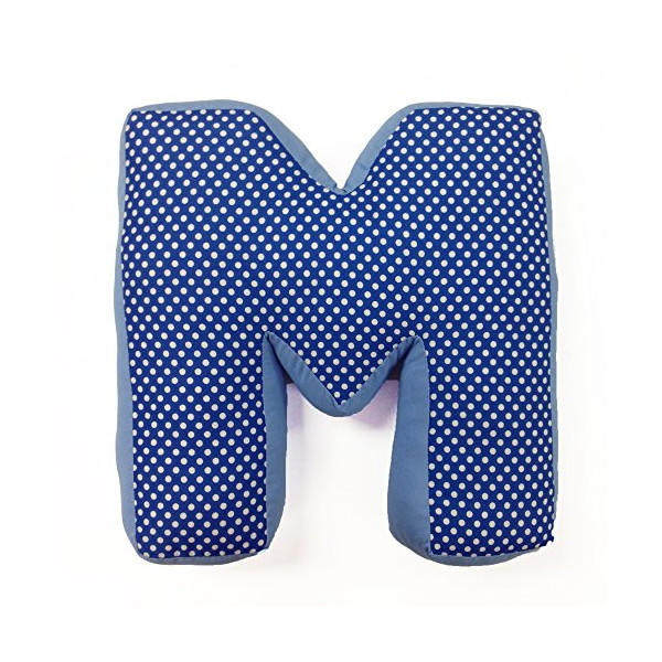 "One Grace Place Simplicity Blue Letter Pillow ""M"", Blue, Light Blue, White"