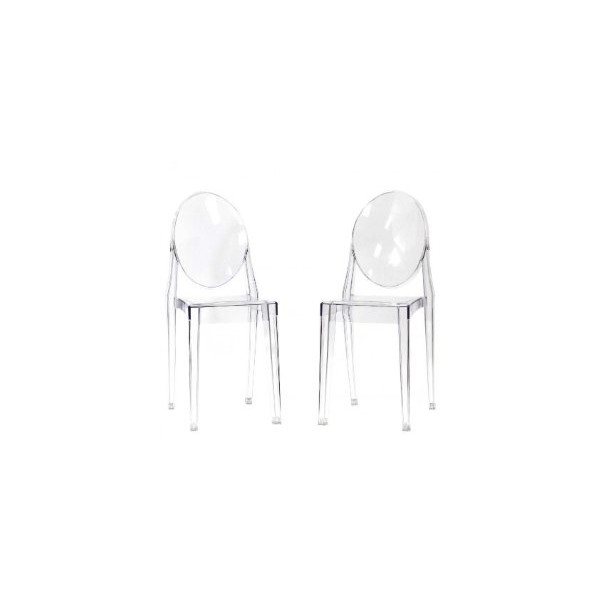 Victoria Ghost Side Chair Set of 2 Dining Chairs