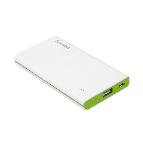 EasyAcc® 5000mAh Ultra-Slim Power Bank Brilliant (White Green) Portable Charger External Battery Pack For Most Smartphones, Samsung Galaxy S3 S4 Note 3, HTC One Mini , Google Nexus 5, Nokia Lumia 520 1020, LG G2