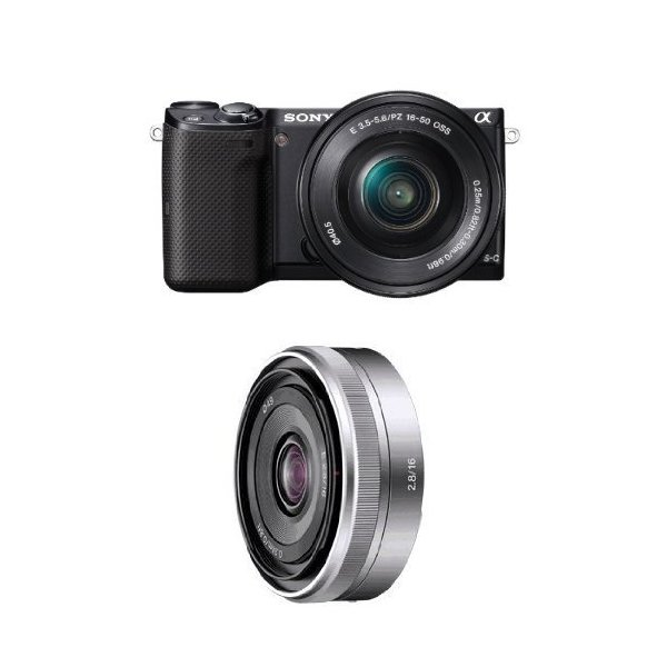 Sony NEX-5TL Compact Interchangeable Lens Digital Camera with 16-50mm Power Zoom Lens and 16mm F2.8 Wide-Angle Lens