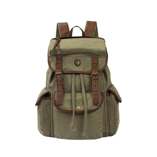Koolertron Vintage Women Men Canvas Backpack Leather Trim Book Bag Rucksack Shoulder Bag (Army green)